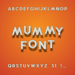 Mummy Bandage Font. Halloween Sans Serif Typeface. Letters, Punctuation Marks, Numbers 3 And 1. Latin Alphabet. Vector.