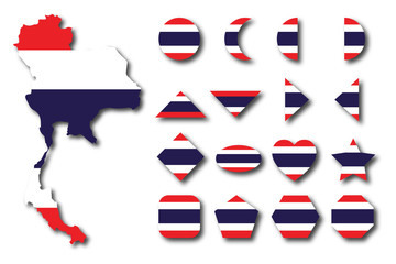 Thaiand map isolated on wihte background with geometric shape in color of Thailand flag