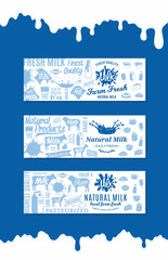 Vector milk products horizontal banners