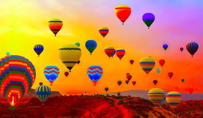 Poster Montgolfière / Dirigeable transportation hot air balloons
