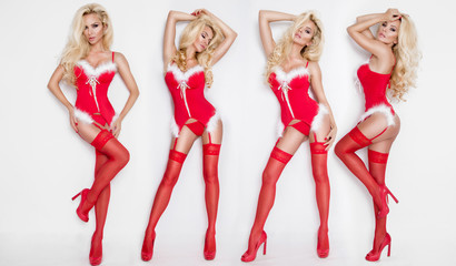 Four beautiful sexy blonde female models snowflakes dressed as Santa Claus erotic red lingerie with white fur and amazing stockings and high heels lovely makeup sensual lips, beauty photo Christmas