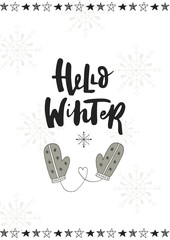 Foto auf Acrylglas Weihnachten Hello winter. Cute hand drawn Christmas postcard with lettering and doodle ellements. New Year phrase and quote.