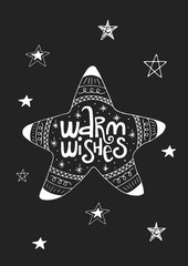 Aluminium Prints Christmas Warm wishes - Cute hand drawn Christmas postcard with lettering and doodle ellements. New Year phrase and quote.