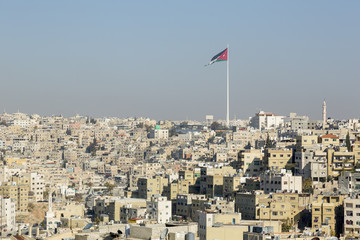Cityscape of Amman with flagstaff downtown from the Citadel - Jordan