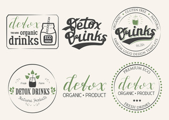 Collection of Six Detox Drinks Natural Products Logo. Set of Eco Badges Hand Drawn Lettering. Emblem Vector Illustration for Web Graphic Design, Print, Logotype, Brand, Symbol.