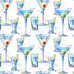 Seamless pattern of a Martini with olive and cherry and vodka and lemon. Painting of a alcohol drink and splash .Watercolor hand drawn illustration.White background.