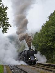 Historic locomotive starting