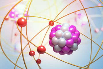 Elementary particles in atom. Physics concept. 3D rendered illustration.