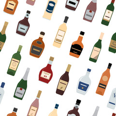 Background of Alcohol Bottles. Seamless pattern. Vector illustration.