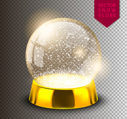 Snow globe empty template isolated on transparent background. Christmas magic ball. Realistic Xmas snowglobe vector illustration. Winter in glass ball, crystal dome icon snowflake and golden stand