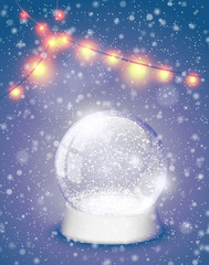 Snow globe Christmas magic ball with yellow lights background. Xmas snowglobe greeting card vector illustration. Winter in glass ball, crystal dome snowflake retro violet backdrop