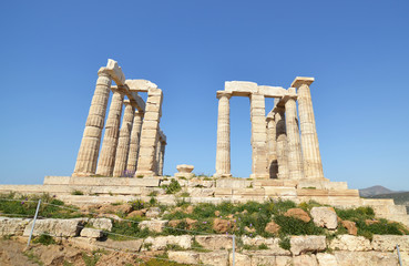 the temple of Poseidon at Cape Sounion Attica Greece