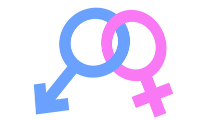 Interlocked gender symbols, male and female