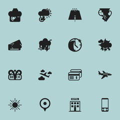 Set Of 16 Editable Holiday Icons. Includes Symbols Such As Baggage, Path, Plastic Money And More. Can Be Used For Web, Mobile, UI And Infographic Design.