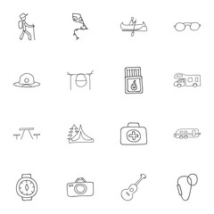 Set Of 16 Editable Travel Doodles. Includes Symbols Such As Beach Hat, Musical Instrument, Flying Toy And More. Can Be Used For Web, Mobile, UI And Infographic Design.