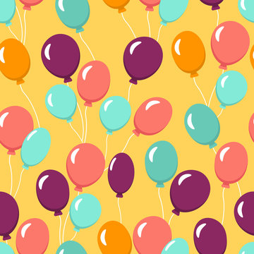Colorful seamless pattern with balloons for wallpaper, textile, fabric. Happy birthday celebration. Vector illustration