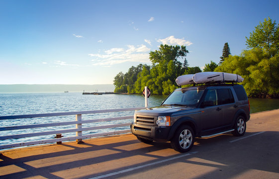 SUV waiting for ferry at Madeline Island on Lake Superior in Wisconsin