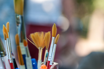 brushes for drawing in a glass close-up