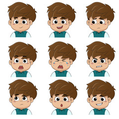 Set of emotion cute boy [smile, happy, laugh, sad, surprise, cry, tears, upset, angry, thinking,sorry].