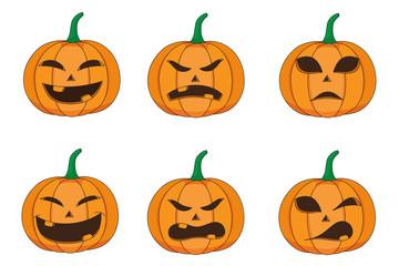 Set of emotion of pumpkin for halloween.