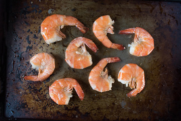cooked buttered Shrimp in top view