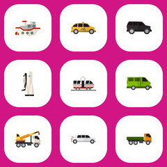 Set Of 9 Editable Car Flat Icons. Includes Symbols Such As Truck, Streetcar, Boat And More. Can Be Used For Web, Mobile, UI And Infographic Design.