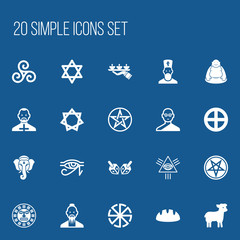 Set Of 20 Editable Religion Icons. Includes Symbols Such As Mandala, Baphomet Symbol, Indian Elephant. Can Be Used For Web, Mobile, UI And Infographic Design.