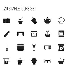 Set Of 20 Editable Cooking Icons. Includes Symbols Such As Baguette, Dining Table, Prepare Meal And More. Can Be Used For Web, Mobile, UI And Infographic Design.