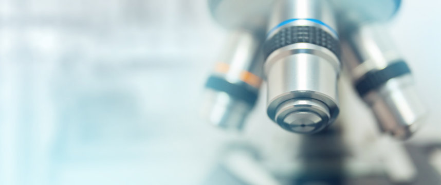 Optical microscope - science and laboratory equipment. Microscope is used for conducting planned, research experiments, educational demonstrations in medical and health institutions, lab.
