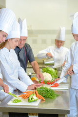 Young people on cooking course