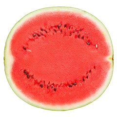 slice of delicious ripe watermelon, clipping path, on a white background, isolated, high quality photo.
