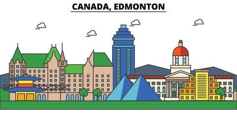 Canada, Edmonton. City skyline: architecture, buildings, streets, silhouette, landscape, panorama, landmarks. Editable strokes. Flat design line vector illustration concept. Isolated icons