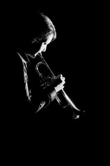 Trumpet player. Trumpeter playing jazz music