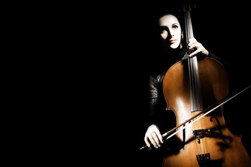 Photo sur cadre textile Musique Cello player cellist playing violoncello