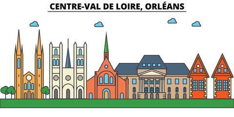 France, Orleans, Centre Val De Loire . City skyline: architecture, buildings, streets, silhouette, landscape, panorama, landmarks. Editable strokes. Flat design line vector illustration concept