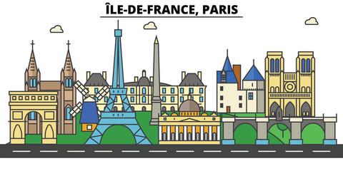 France, Paris, Ile De France . City skyline: architecture, buildings, streets, silhouette, landscape, panorama, landmarks. Editable strokes. Flat design line vector illustration. Isolated icons
