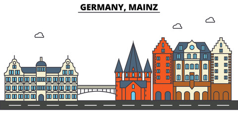 Germany, Mainz. City skyline: architecture, buildings, streets, silhouette, landscape, panorama, landmarks. Editable strokes. Flat design line vector illustration concept. Isolated icons