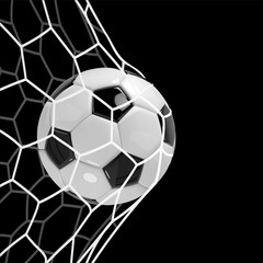 Realistic soccer ball or football ball in net on black background. 3d Style vector Ball.