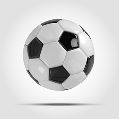 Realistic soccer ball or football ball on light gray background. 3d Style vector Ball.