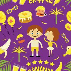 """Seamless vector pattern """"Banana mood""""."""