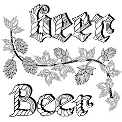 Beer.Hand-drawn ornamental inscription. Zentangle and doodle style. Coloring book or tattoo. Vector illustration.