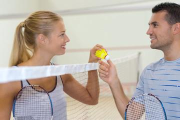 happy badminton player