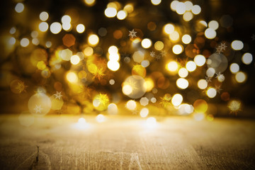 Christmas Golden Lights Background, Party Or Celebration Texture With Wood