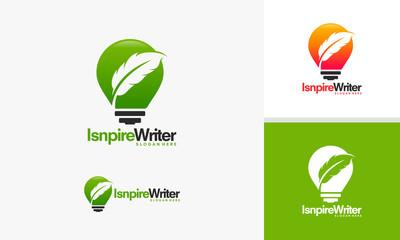 Inspire Writer Logo design, Idea to Write logo template vector