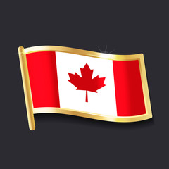 flag of  Canada in the form of badge, flat image