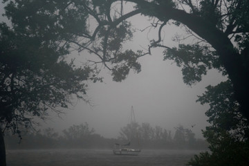 A boat at anchor in the Intercostal Waterway is pictured as Hurricane Irma' arrives in Hollywood, Florida