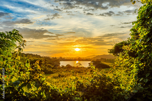 Beautiful landscape view with sunset and blue sky, Cloud