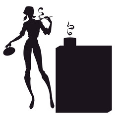 Vector illustration of silhouette of slender housewife in kitchen.
