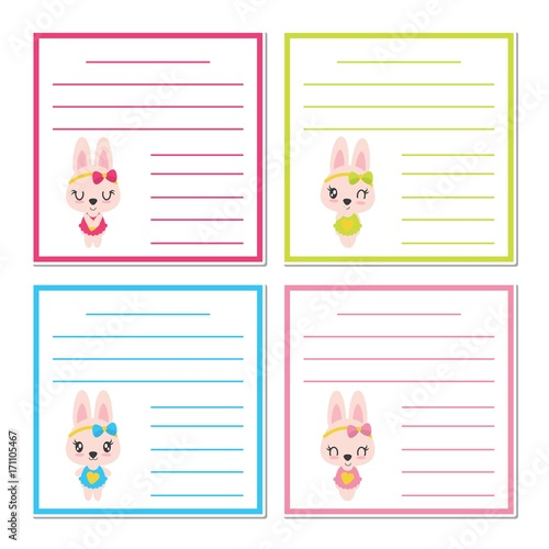 cute bunny girls on colorful frame vector cartoon illustration for