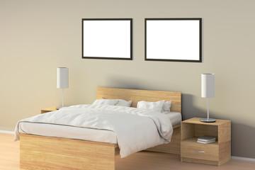Blank poster in bedroom